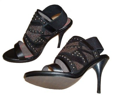 Miss Sixty SADE Black Leather Embellished Shoes Heels -Reduced