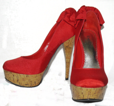 Bebe KAHILIA Red Textured Bow At Heel Cork Heels Pumps Shoes