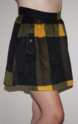 Free People Women's Black & Mustard Yellow Plaid Lined Mini Skirt (Sz 0, 2 & 4)