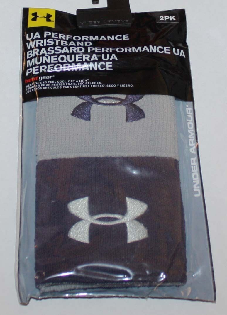 1 Pair Under Armour UA Performance Men's Navy Blue/Gray Wristbands