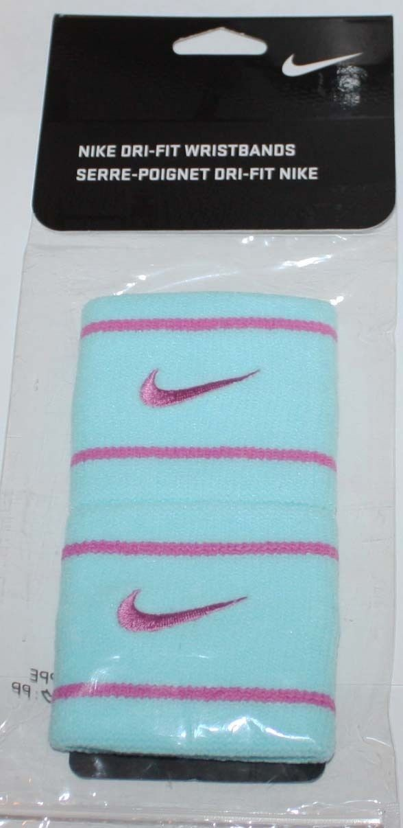 1 Pair Nike Dri-Fit Glacier Ice/Violet Swoosh and Stripes Wristbands