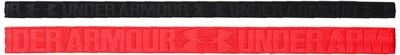 2 Pack Under Armour Women's Rocket Red/Black Embossed Headbands