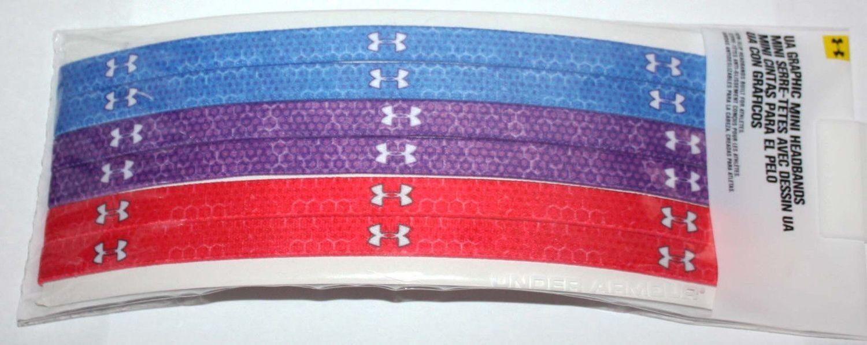 "6 Pk Under Armour UA MINI ½"" Multi-Colored Print Headbands (One Size)"