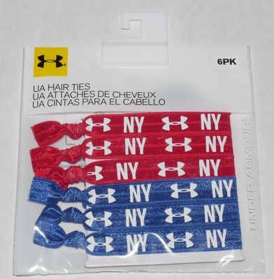 6 Pack Under Armour Women's Red/Royal Blue/White UA/NY Hair Ties