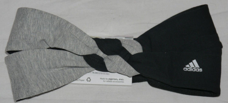 adidas ULTIMATE Women's Top Knot Reversible Headband -Black/Grey