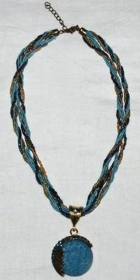 Lumalou Turquoise/Gold Tone Twist Beading Bohemian Gemstone Necklace