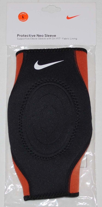 Nike Unisex Dri-Fit Black/Orange Protective Supportive Neo Elbow Sleeve (Large)