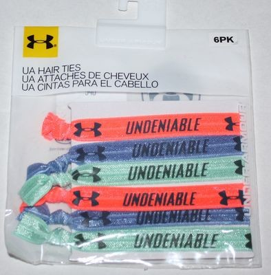 6 Pk Under Armour Women's After Burn/Blue/Crystal UA UNDENIABLE Hair Ties