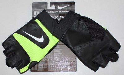 Nike Men's Black/Volt/White Swoosh Legendary Training Gloves -Large