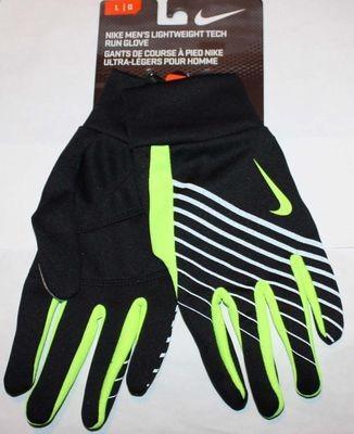 Nike Men's Lightweight Tech Run Gloves -Black/Volt -Large