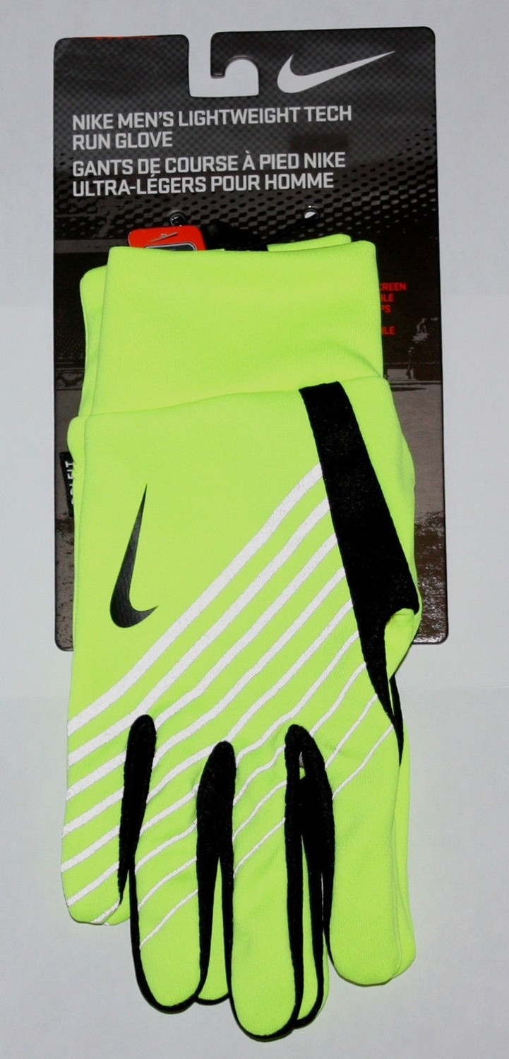 Nike Men's Lightweight Tech Run Gloves -Neon/Black -Small