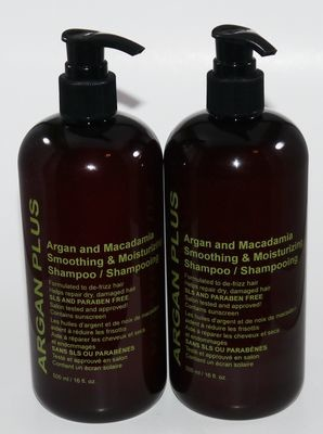 Lot 2 Argan Plus Argan & Macadamia Smoothing & Moisturizing Shampoo 16 oz Each