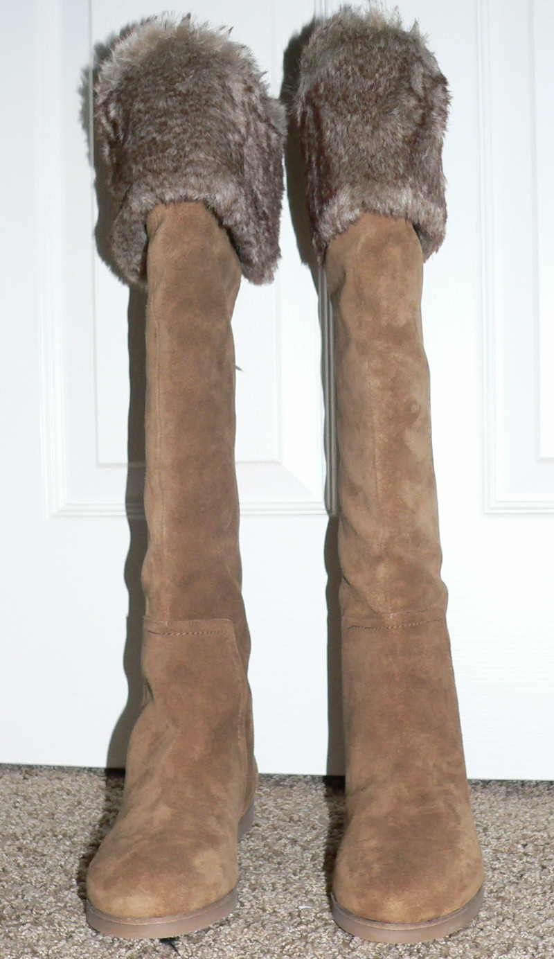 American Eagle OLLIE Women's Tall Cognac Suede Boots (Size 6.5)