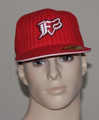Fox Flex Fit Men's Ball Cap Hat -Red with Pinstripes (Size 7¼ -7 5/8)