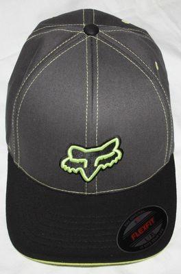 Fox Flex fit Men's Ball Cap Hat -Charcoal & Neon (Large/X-Large)
