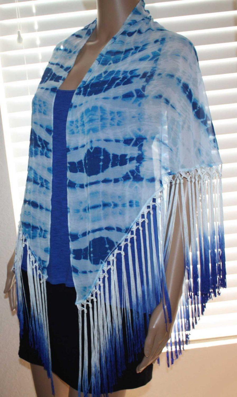 Bebe Women's Seaside Tie Dye Ombre Fringed Scarf