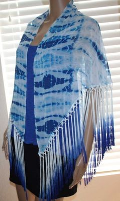Bebe Women's Seaside Tie Dye Ombre Fringed Scarf