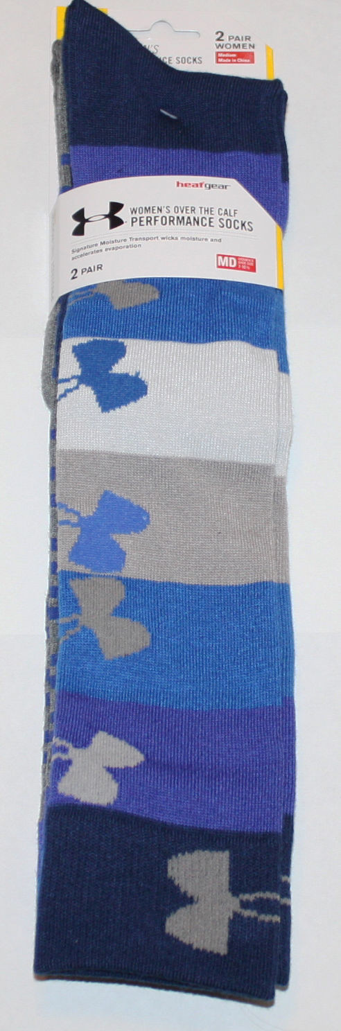 2 Pair Under Armour Women's Russian Nights/Assorted Over The Calf Socks (Medium)