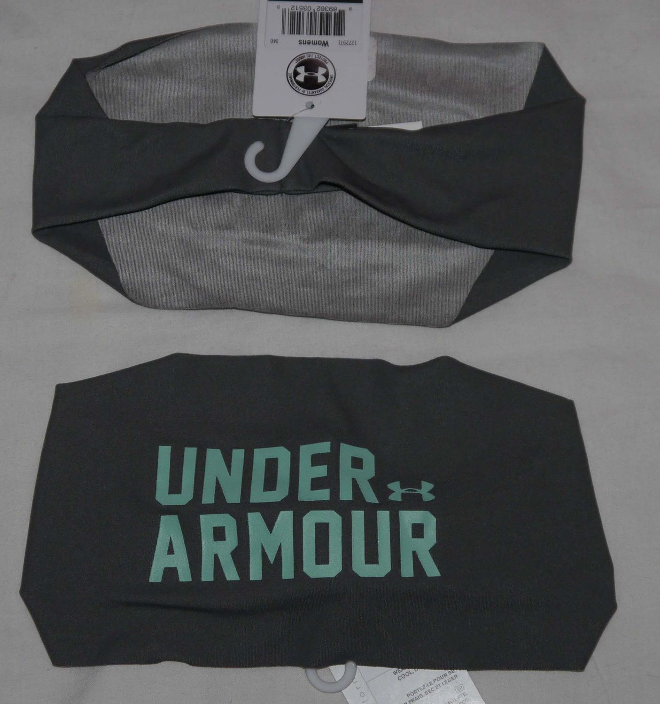 Under Armour Women's Steeple Gray/Aqueduct UA Graphic Wide Headband