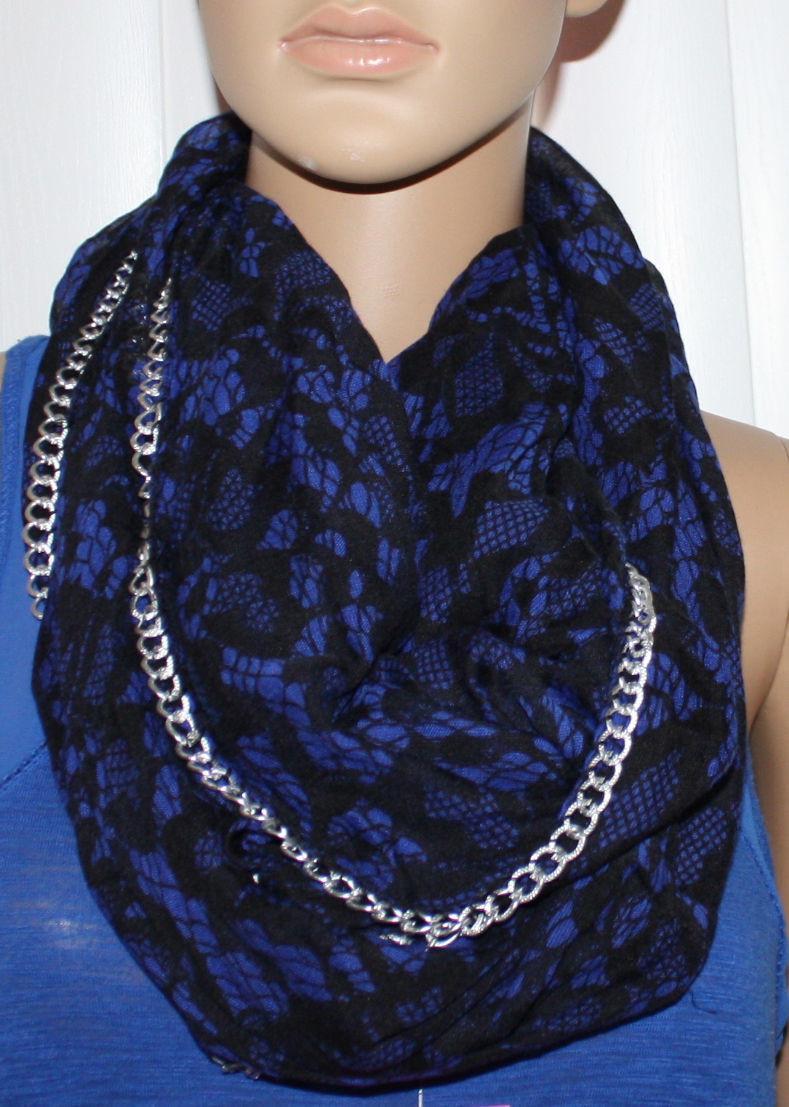 Betsey Johnson Women's Double Loop Black/Blue Silver Chain Scarf