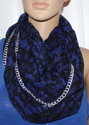 Betsey Johnson Women's Double Loop Black/Blue Silver Chain Scarf
