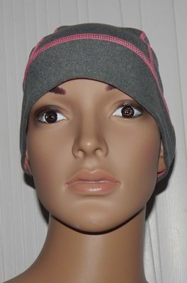 apana Women's Sahaja Reflective Pony Tail Beanie -Gray Speckled and Light Pink (One size)