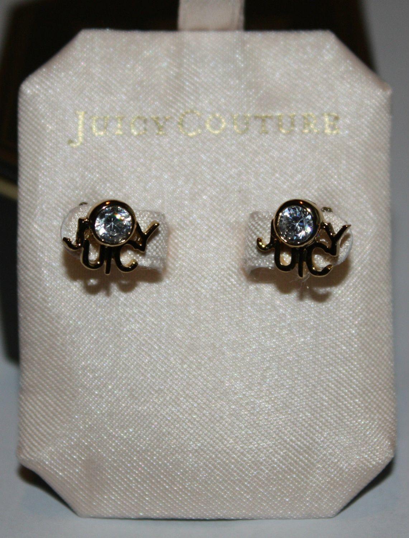 Juicy Couture JUICY LOGO STUDS Gold Tone Crystal Earrings #YJRUS045
