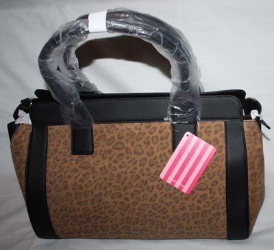 Victoria's Secret Suede Brown Leopard Print Large Handbag Purse