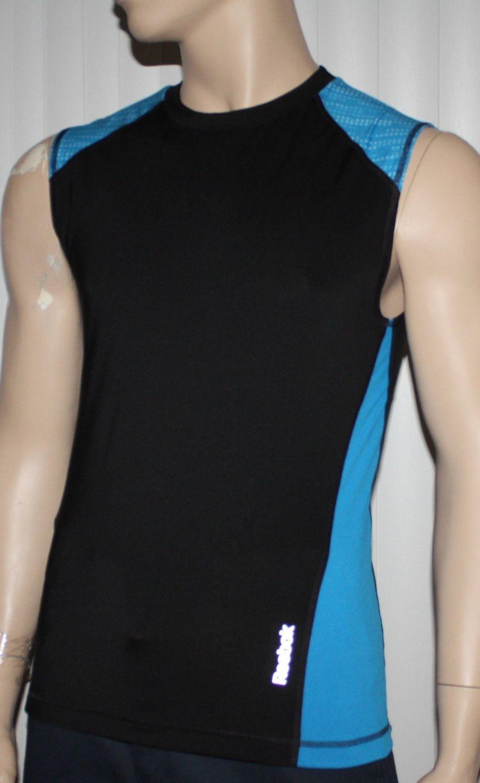 Reebok SPORT Men's Black/Aqua Sleeveless Compression Tank Top (Several Sizes)