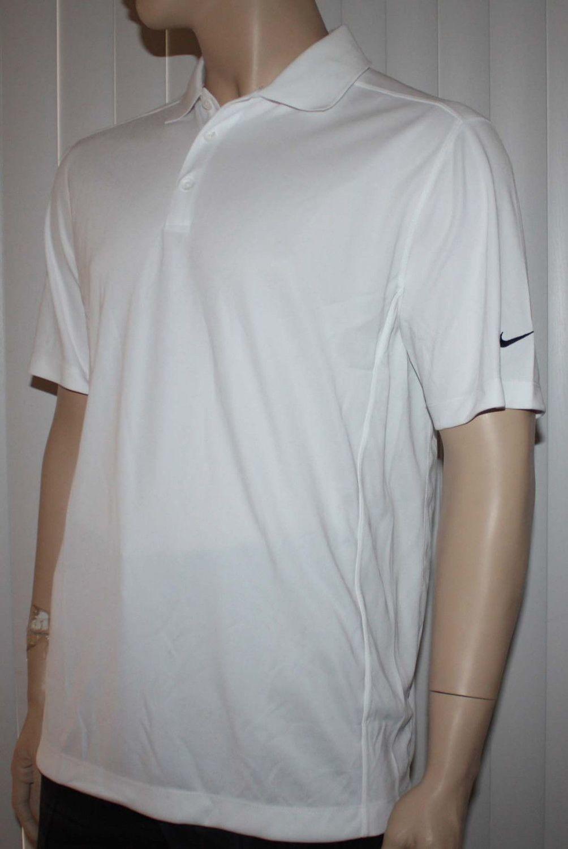 Nike Golf Men's White/Black Swoosh Polo Shirt (Large)