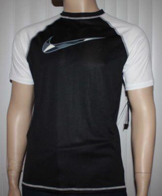 Nike Men's Dri-Fit Black/White Checked Swoosh UPF 40 + Shirt (Large)