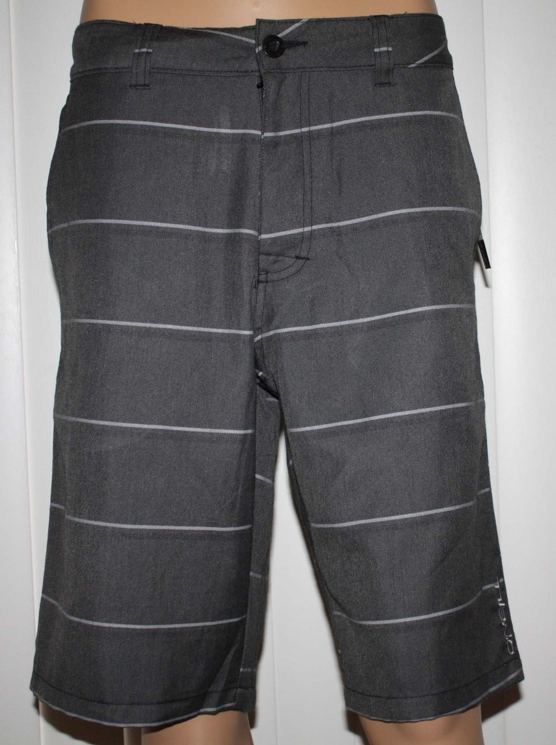 O'Neill REDWOOD Men's Black Textured/Light Gray/Black Stripes Shorts (Several Sizes)