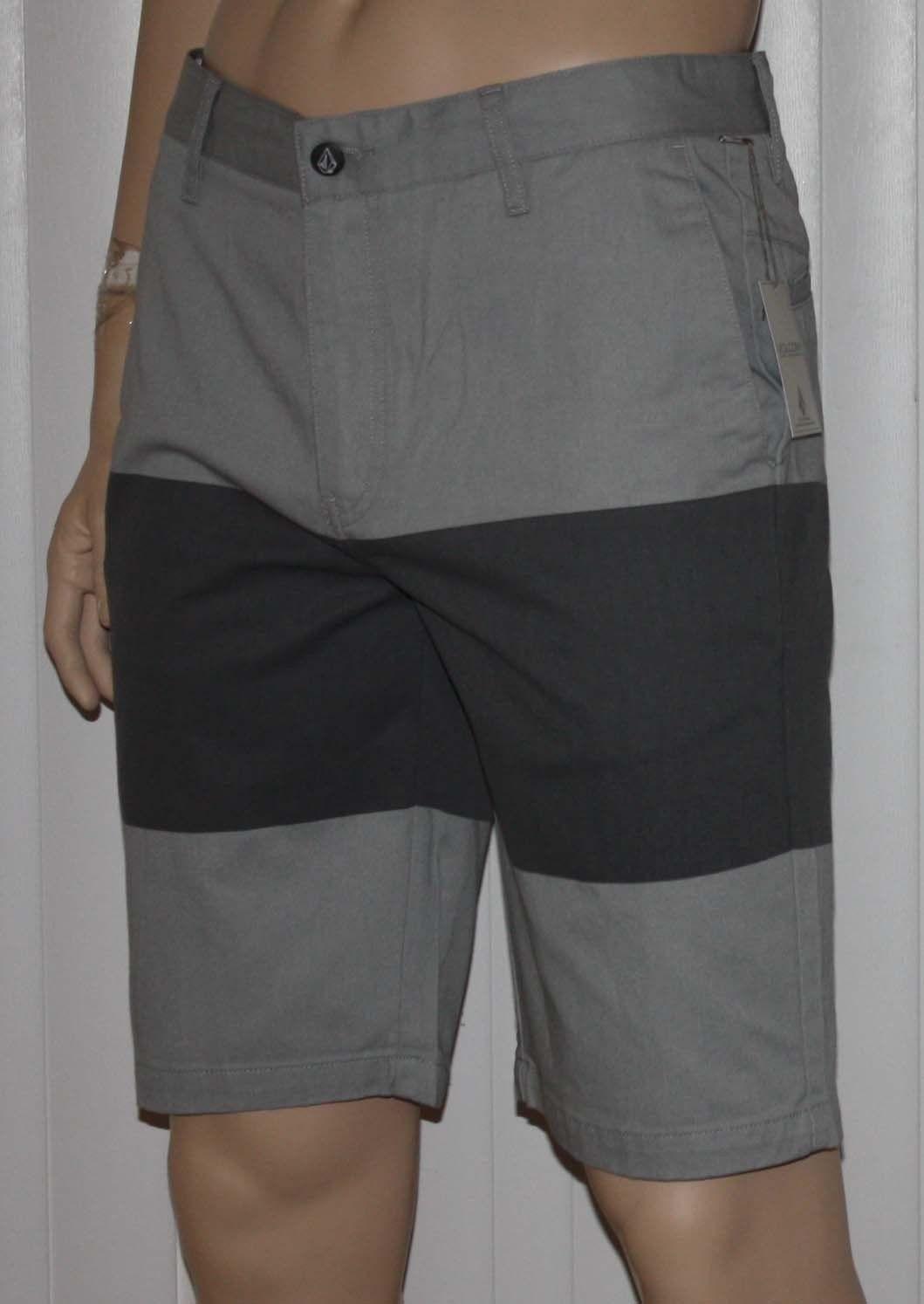 Volcom V/Monty Men's Gray/Charcoal Gray Block Shorts (Size 33)