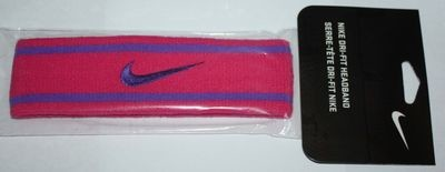 Nike Unisex Dri-Fit Headband Vivid Pink/Purple Venom Stripes/Swoosh (One Size)
