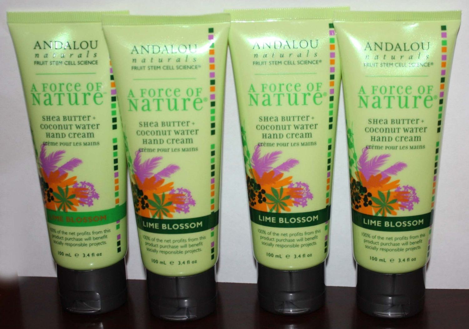Lot Of 4 Andalou Naturals A FORCE OF NATURE Lime Blossom Hand Cream 3.4 oz Each