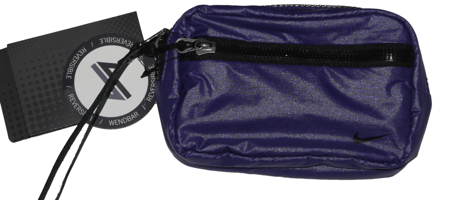 Nike Purple/Black Reversible to Pink Polka Dots Zippered Valuables Case