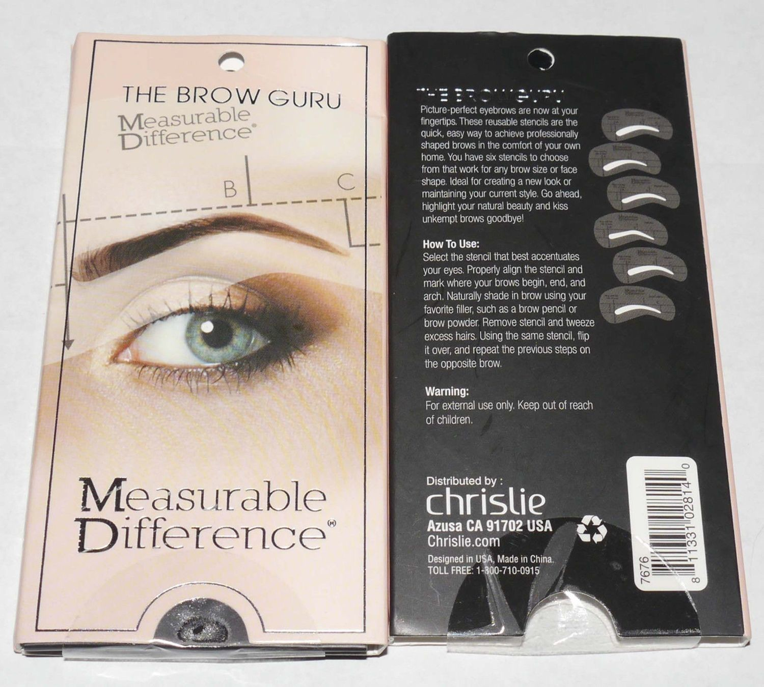 Measurable Difference Set of 6 The Brow Guru Eyebrow Stencil Kit