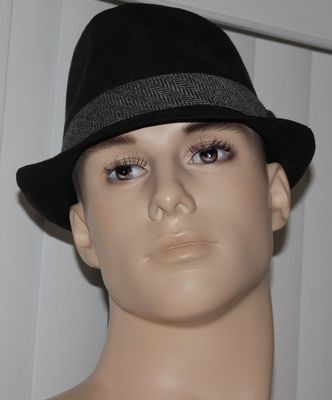 Levi's Black With Black/Gray Tweed Ribbon Panama Hat (Several Sizes)