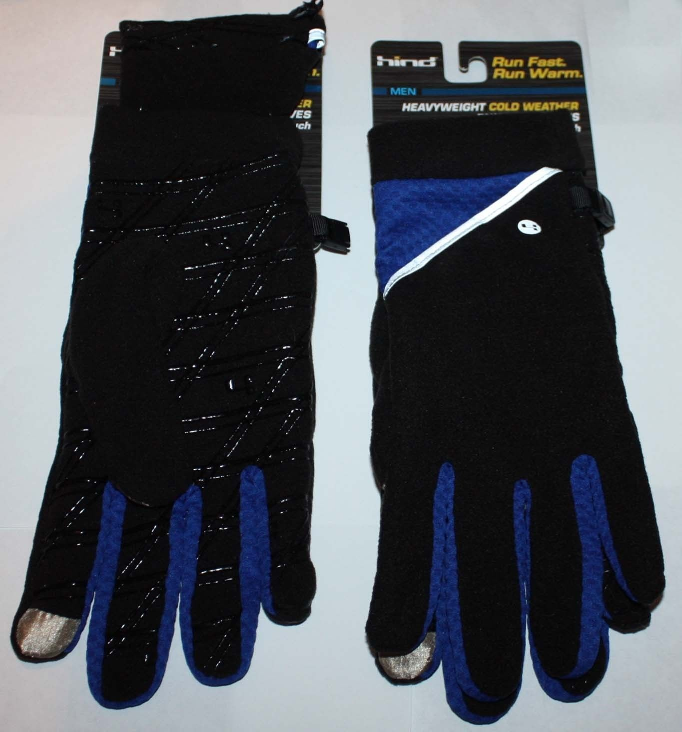 Hind Men's Heavyweight Black/Royal Blue Smart Touch Running Gloves (Large/X-Large)
