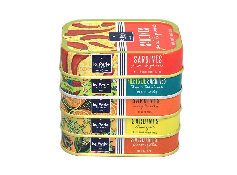 La Perle des Dieux Sardines met verschillende smaken