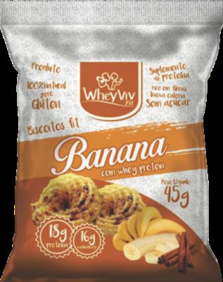 Biscoito WheyViv sabor Banana (com canela) - Pacote 45g