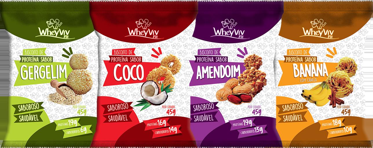 COMBO Wheyviv GCAB (Gergelin/Coco/Amendoim/Banana) - 20 UNIDADES