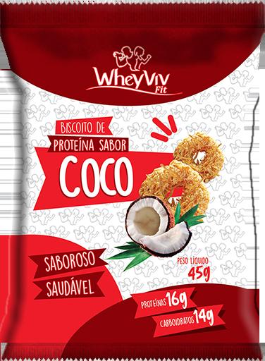 Biscoito WheyViv sabor Coco - Pacote 45g