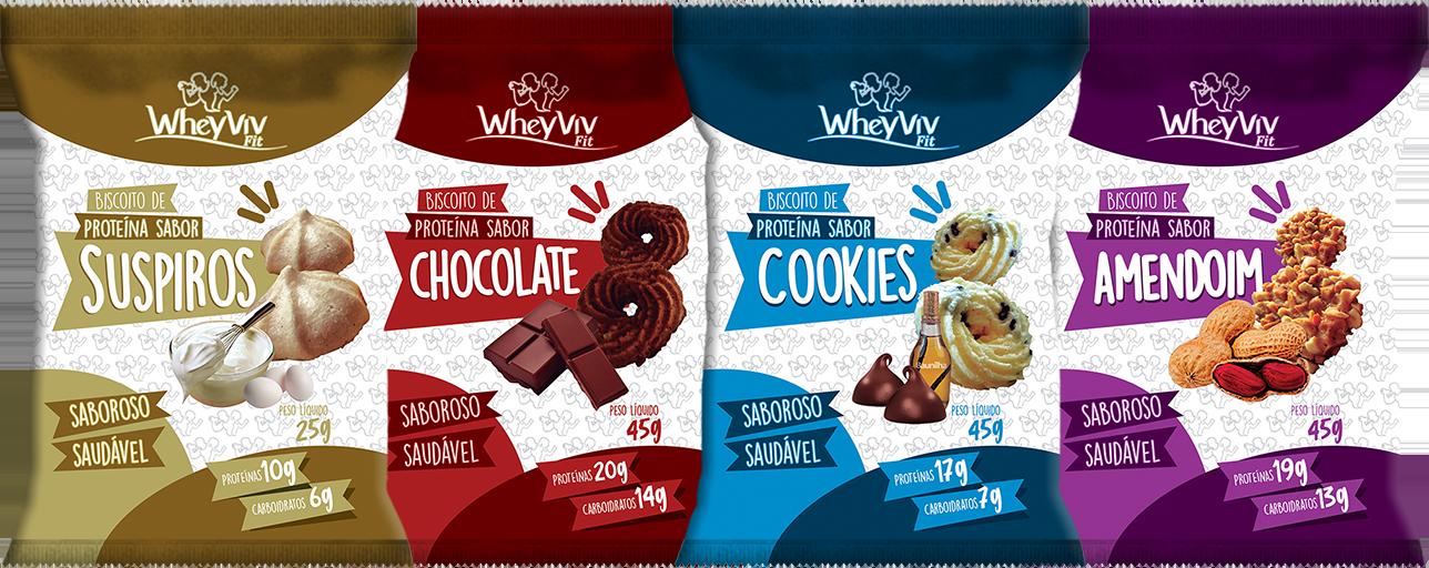 COMBO Wheyviv SCCA (Suspiro/Chocolate/Cookies/Amendoim) - 20 UNIDADES