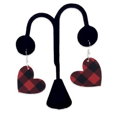 Red Buffalo Plaid Heart Earrings