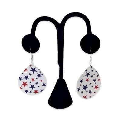 Red & Blue Stars Teardrop Earrings