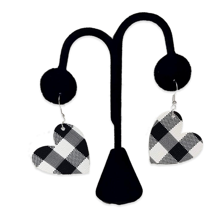 White Buffalo Plaid Heart Earrings
