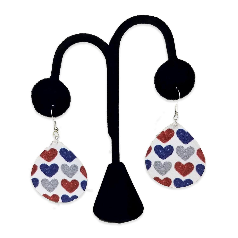 Patriotic Hearts Teardrop Earrings