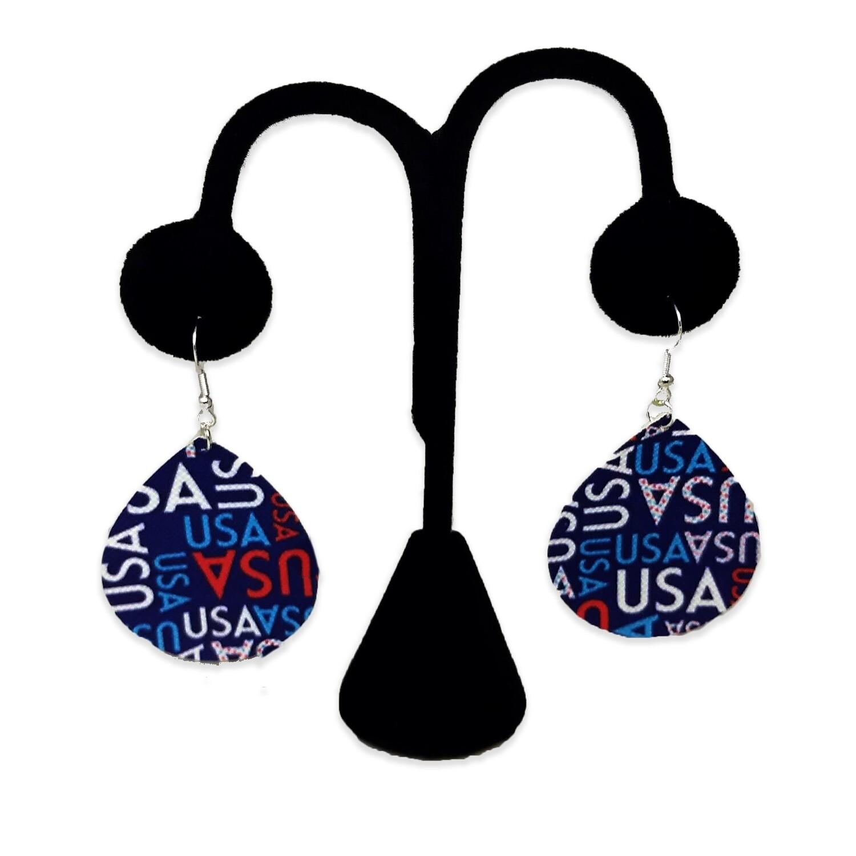 USA Patriotic Teardrop Earrings