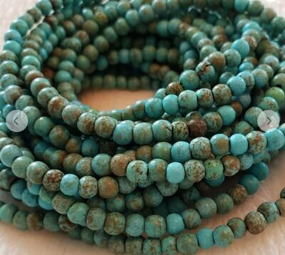 Green Turquoise & Hammered Metal